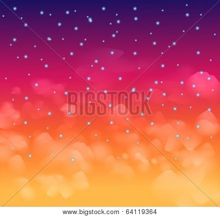 A magical Nigh sky with stars and delecate clouds. Idea for Chsritmas background and festive posters.