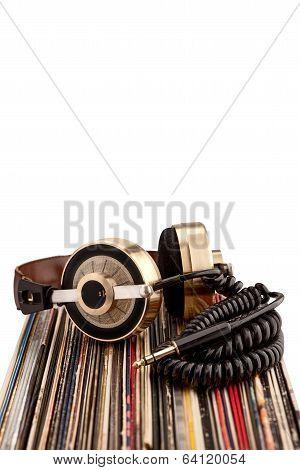 Headphones And Vinyl Records.