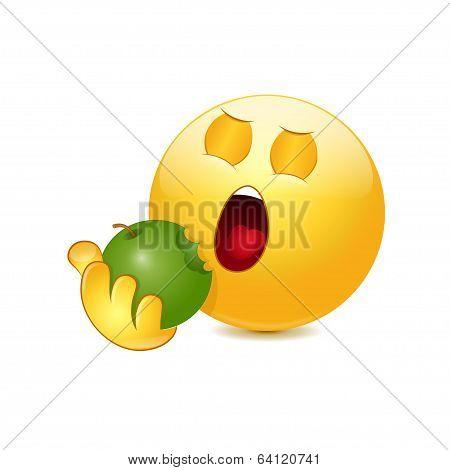 Emoticon eating apple