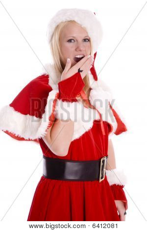Santa Helper Hand Over Mouth Yawning