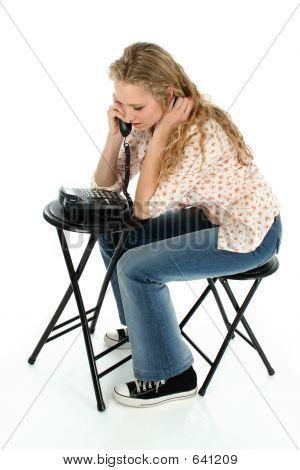 Pretty Teen Girl On Phone
