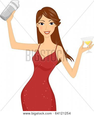 Illustration of a Girl in a Red Dress Holding a Cocktail in One Hand and a Cocktail Shaker in the Other
