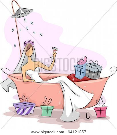 Illustration of a Bride Lying on a Bathtub Filled with Gifts While a Shower Sprinkles Water On Her Head