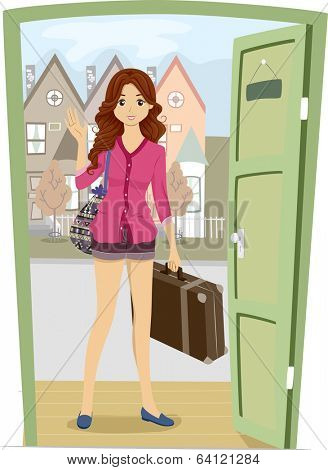 Illustration of a Girl Carrying a Piece of Luggage Coming Home for a Visit