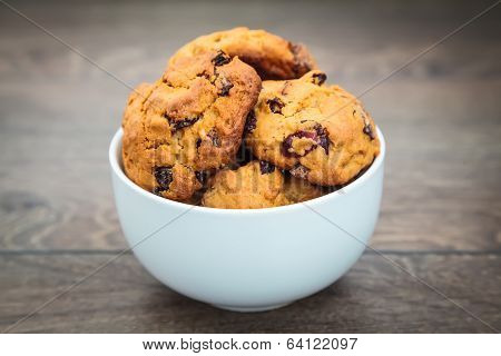 Homemade Cookies In A White Bowl