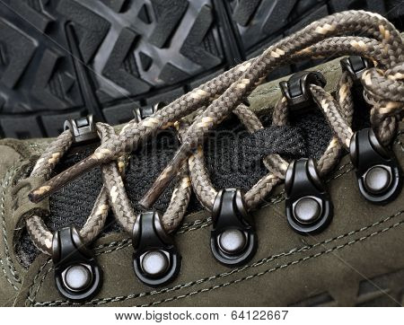 Laces On Sneakers On A Background Of The Sole
