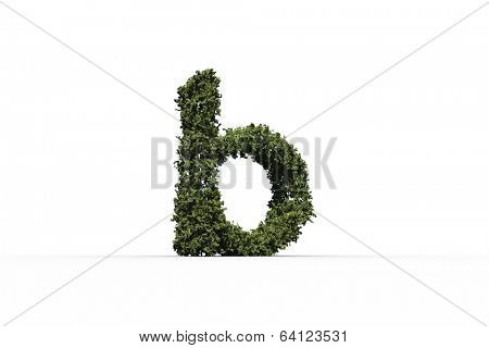 Lower case b made of leaves on white background