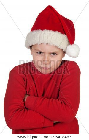 Frowning Boy With Santa Hat