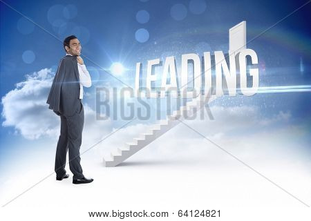 The word leading and smiling businessman standing against steps leading to closed door in the sky