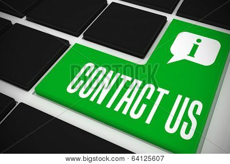 The word contact us and speech bubble on black keyboard with green key
