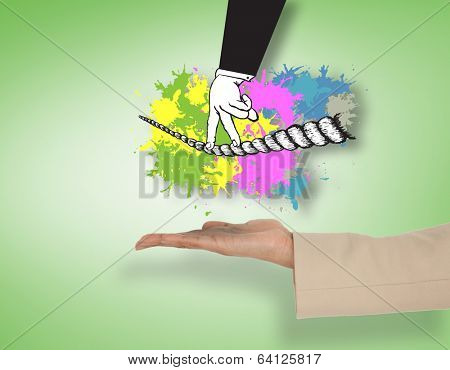 Female hand presenting fingers walking tightrope against green vignette