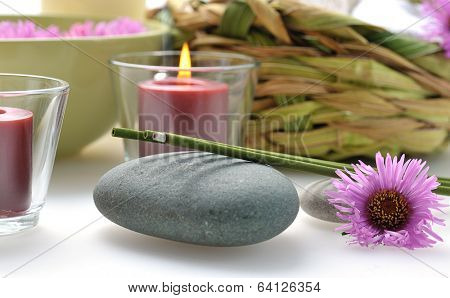 green nature spa still life with incense stick
