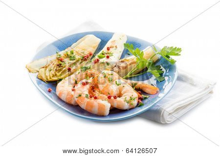 appetizer with shrimp and grilled endive salad