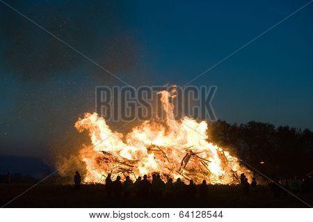 Huge Bonfire With Easter
