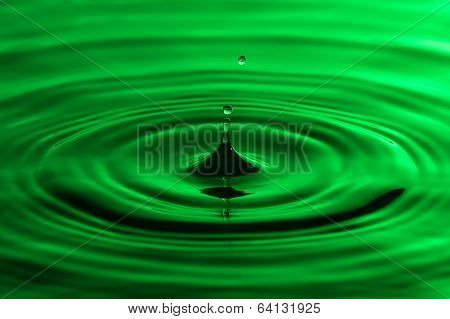 Water Drop Close Up With Concentric Ripples Colourful Green Surface