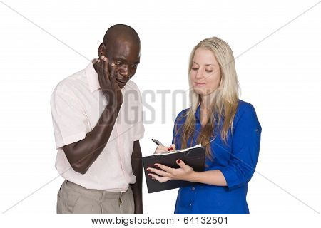 Young Mixed Race Couple With Tablet