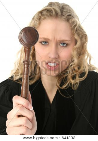 Angry Blonde Female Judge