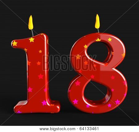 Number Eighteen Candles Show Teen Birthday Or Decoration