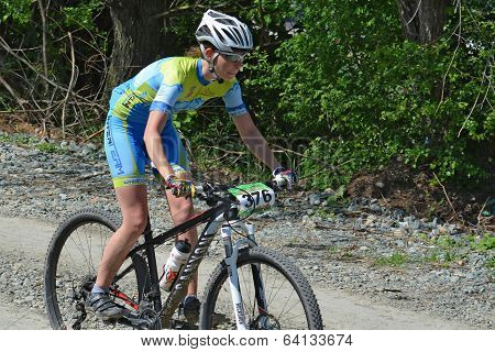 Female Cyclist On A Mountain Bike