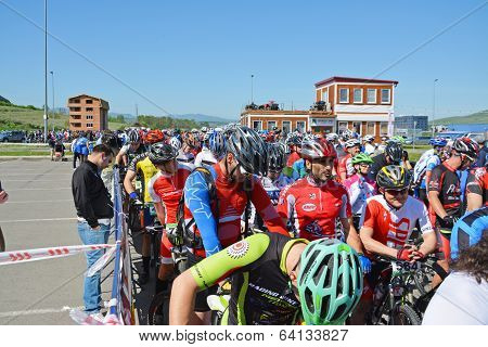 Mountain Bike Racers At Start Line