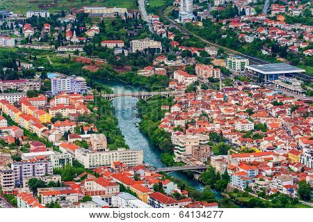 Aerial View Of Downtown Mostar In Bosnia And Herzegovina.
