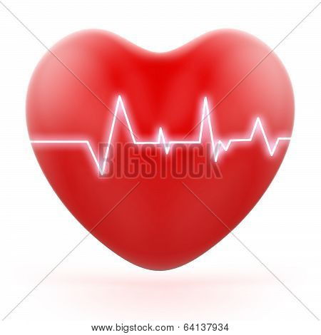 Electro On Heart Shows Love Pressure Or Loud Heartbeats