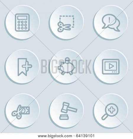 Shopping web icon set 3, white sticker buttons
