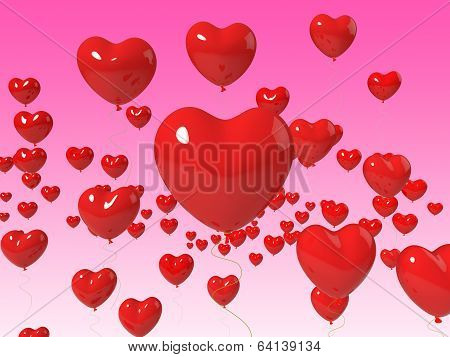 Heart Balloons Floating Show Marriage Anniversary And Romanticis