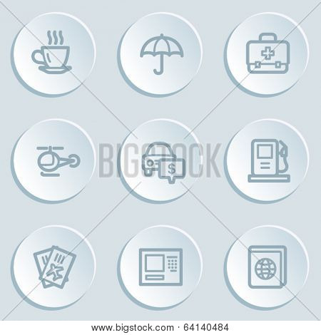 Travel  web icon set 4, white sticker buttons