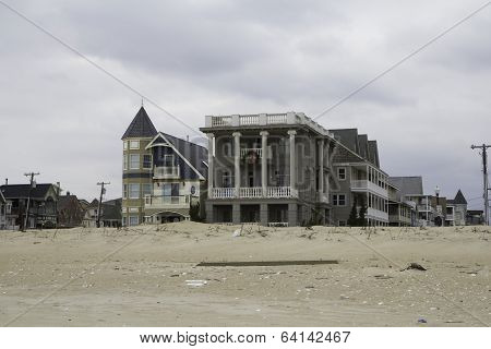 After Hurricane Sandy:  Ocean Grove New Jersey Homes Viewed From The Beach