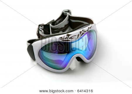 Ski goggles on white background