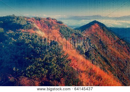 Warm sunlight on the mountain slopes. Morning landscape with mountain peaks. Dry autumn grass in the light of the rising sun. Carpathians, Ukraine. Filtered image: vintage, grunge and texture effects