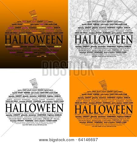 Halloween Word Clouds - Set Of 4