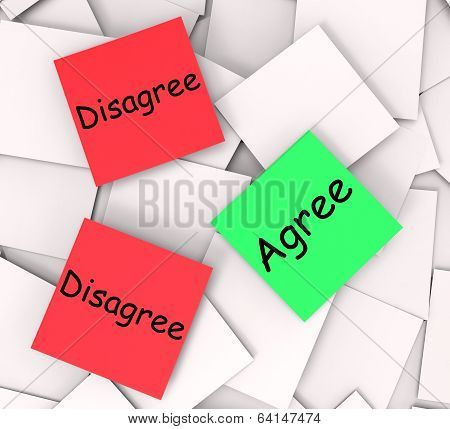 Agree Disagree Post-it Notes Show In Favor Of Or Against