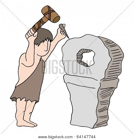 An image of a caveman inventing the wheel.