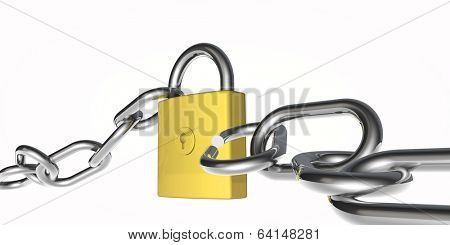 metal padlock and chain which has been broken into on a white background