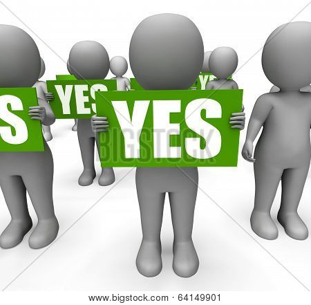 Characters Holding Yes Signs Mean Agreement And Confirmation