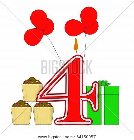 Number Four Candle Means Multi Coloured Decorations Or Birthday