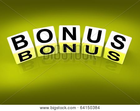 Bonus Blocks Indicate Promotional Gratuity Benefits And Bonuses