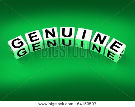 Genuine Blocks Mean Authentic Legitimate And Real
