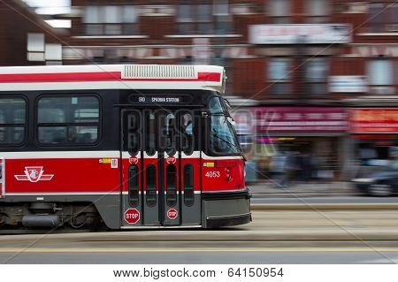 Toronto Street Car Moving At Speed