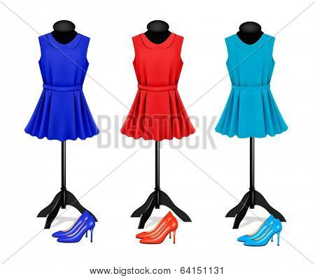 Fashion boutique background with colorful dresses and shoes. Vector