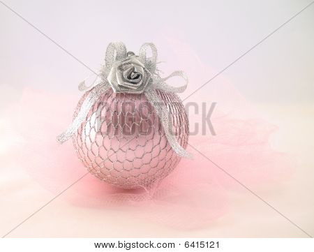 Pink With Silver Sphere For Christmas Tree  Abreast And Grid