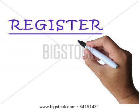 Register Word Shows Sign Up Or Check In
