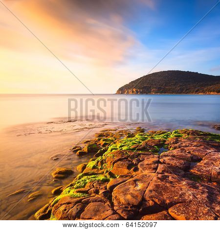 Sunset In Cala Violina Bay Beach In Maremma, Tuscany. Mediterranean Sea. Italy.