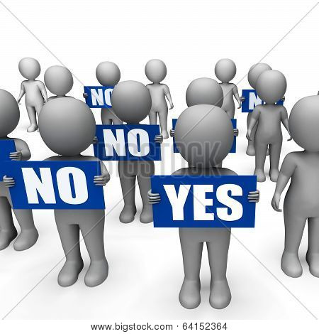 Characters Holding No Yes Signs Show Indecision Or Confusion