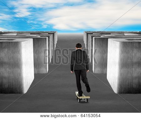 Skateboarding On Money Skateboard Through Maze