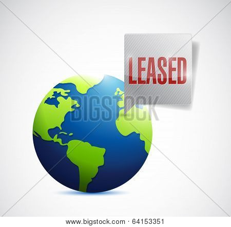 Leased Sign On A Globe Illustration Design