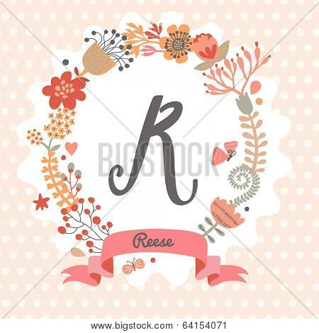 Personalized monogram in vintage colors. Stylish letter R. Can be used as greeting card, invitation card. Floral wreath in vector