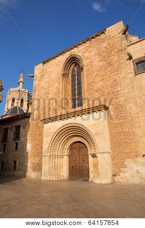 Valencia Cathedral romanesque door Puerta del Palau Almoina and Micalet Seu at Spain